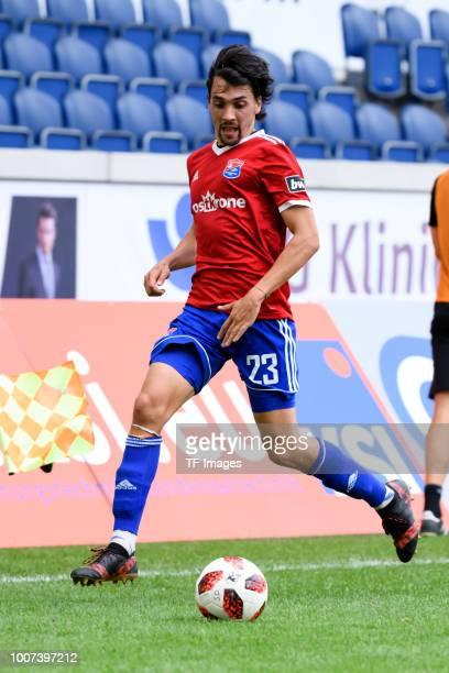 Markus Schwabl of Haching controls the ball during the 3 Liga match between KFC Uerdingen 05 and SpVgg Unterhaching at GrotenburgStadion on July 29...