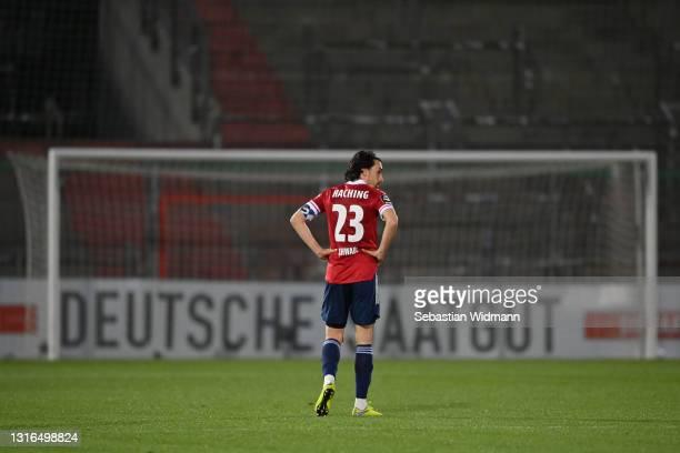Markus Schwablof Unterhaching looks on after the 3. Liga match between SpVgg Unterhaching and Waldhof Mannheim at Alpenbauer Sportpark on May 05,...