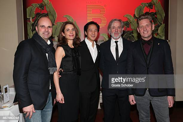 Markus Siebrecht guest Clemens Lee Roland Mary and Wayne Anthony Griffiths attend the Bild 'Place to B' Party at Borchardt Restaurant on February 7...