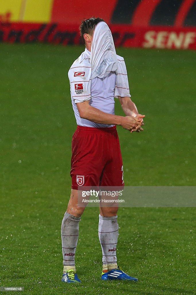 Markus Smarzoch of Regensburg reacts after the Second Bundesligamatch between Jahn Regensburg and FC Ingolstadt at Jahnstadion on April 19, 2013 in Regensburg, Germany.