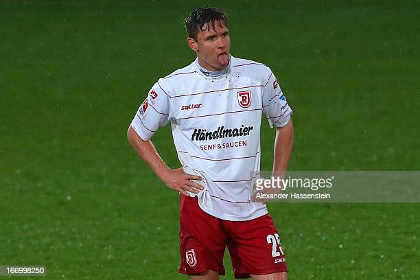 Markus Smarzoch of Regensburg reacts after the Second Bundesligamatch between Jahn Regensburg and FC Ingolstadt at Jahnstadion on April 19, 2013 in...