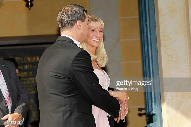 Markus Soeder and his wife Karin Baumueller arrive for the Bayreuth festival 2012 premiere on July 25 2012 in Bayreuth Germany