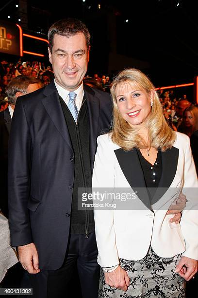 Markus Soeder and Karin Baumueller attend the last broadcast of the 'Wetten dass TV show' on December 13 2014 in Nuremberg Germany