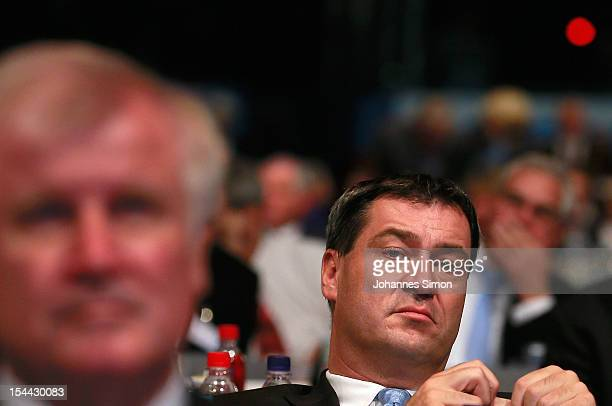 Markus Soeder Bavarian finance minister and member of the board of the Christian Social Union of Bavaria attends the CSU party congress on October 19...
