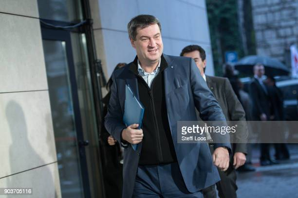 Markus Soeder Bavarian finance minister arrives at the headquarters of the German Social Democrats for the conclusion of preliminary coalition talks...