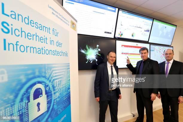 Markus Soeder Bavarian minister of finance Albert Fueracker state secretary of finance and Daniel Kleffel head of the Bavarian office for security...
