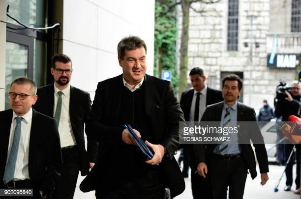 Markus Soeder designated State Premier of Bavaria and member of the conservative CSU party arrives for a meeting with the leaders of the conservative...