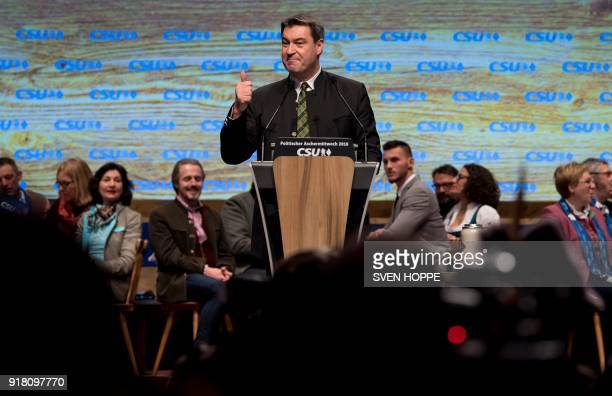 Markus Soeder, designated State Premier of Bavaria and politician of the conservative Christian Social Union party, gives a speech during the CSU's...