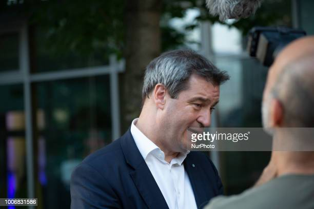Markus Soeder gives an interview after the panel discussion At the 'Lange Nacht der Frauen' 'Long night of the women' of the Frauen Union the...