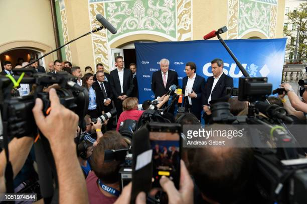Markus Soeder Governor of Bavaria and lead candidate for the Bavarian Social Union Sebastian Kurz Chancellor of Austria and Horst Seehofer CSU...