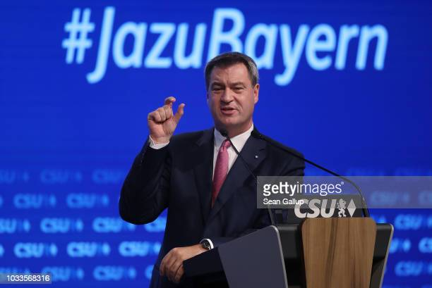 Markus Soeder Governor of Bavaria and lead candidate of the Bavarian Social Union political party in upcoming Bavarian state elections speaks to...