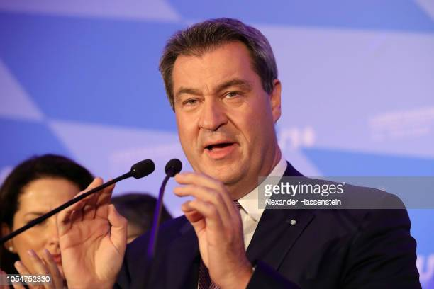 Markus Soeder Governor of Bavaria and lead candidate of the Christian Social Union political party speaks to supporters at the Bavarian state...
