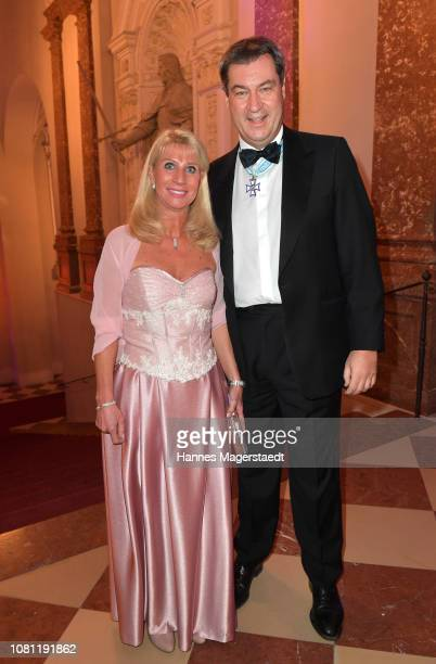 Markus Soeder, Governor of Bavaria and lead candidate of the Christian Social Union , and his wife, Karin Baumueller-Soeder during the new year...