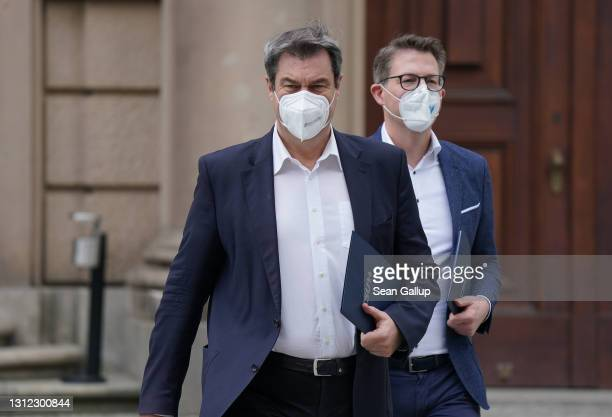 Markus Soeder , head of the Bavarian Christian Democrats , arrives for a meeting of the CDU/CSU Bundestag faction in the plenary hall of the...