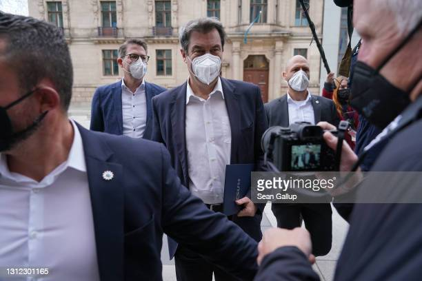 Markus Soeder, head of the Bavarian Christian Democrats , arrives for a meeting of the CDU/CSU Bundestag faction in the plenary hall of the Bundestag...
