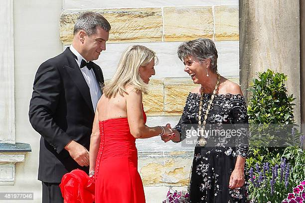 Markus Soeder Karin Baumueller and Bettina MerkErbe attend the Bayreuth Festival 2015 Opening on July 25 2015 in Bayreuth Germany