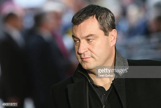 Markus Soeder of the Bavarian Christian Democrats arrives at the headquarters of the German Social Democrats for another round of coalition...