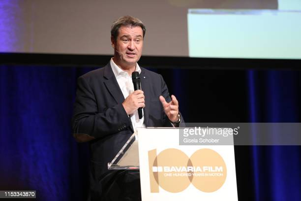 Markus Soeder Prime Minister of Bavaria during the Bavaria Film Reception One Hundred Years in Motion on the occasion of the 100th anniversary of the...
