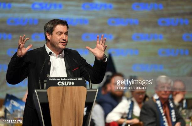 Markus Soeder State Premier of Bavaria and leader of the conservative Christian Social Union party gives a speech during his party's traditional Ash...