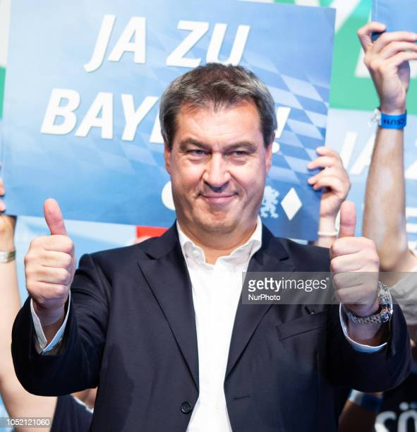 Markus Soeder with two thumbs up The Christian Social Union held its last rally in the Loewenbraeukeller before the Bavarian State Elections The...