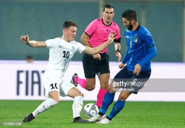 Markus Soomets of Estonia controls the ball during the International Friendly match between Italy and Estonia at Stadio Artemio Franchi on November...