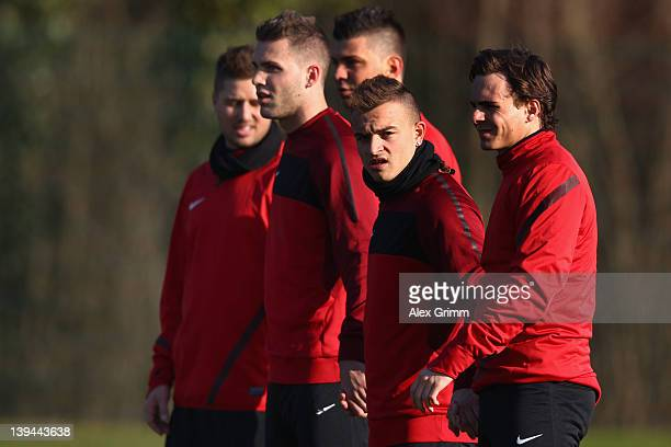 Markus Steinhoefer Granit Xhaka Roman Buess Xherdan Shaqiri and Kay Voser during a training session of FC Basel ahead of their UEFA Champions League...