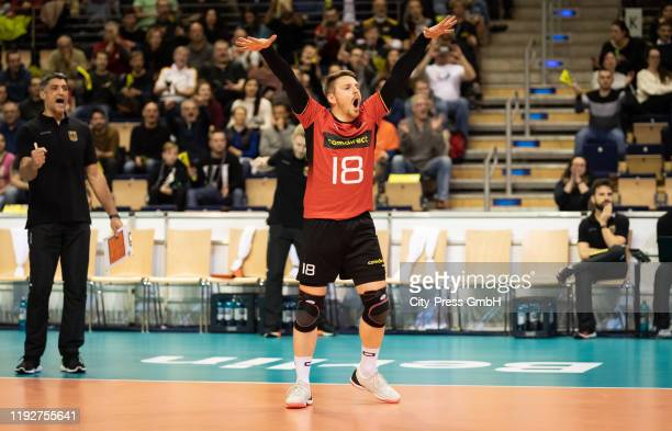 Markus Steuerwald of team Germany during the Volleyball European Qualification match between Bulgaria and Germany at MaxSchmelingHalle on January 9...