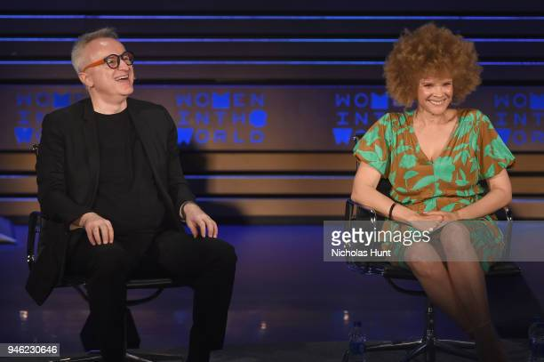 Markus Strobel and Michaela Angela Davis speak onstage at the 2018 Women In The World Summit at Lincoln Center on April 14 2018 in New York City