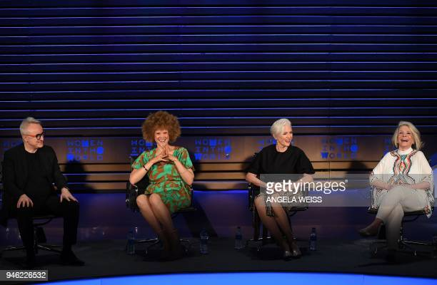 Markus Strobel Michaela Angela Davis Maye Musk and Sheila Nevins speak at the Women in the World Summit on April 14 in New York City / AFP PHOTO /...