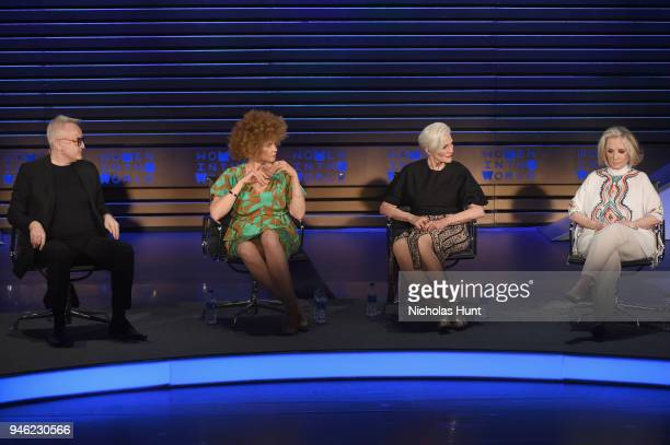 Markus Strobel Michaela Angela Davis Maye Musk and Sheila Nevins speak onstage at the 2018 Women In The World Summit at Lincoln Center on April 14...
