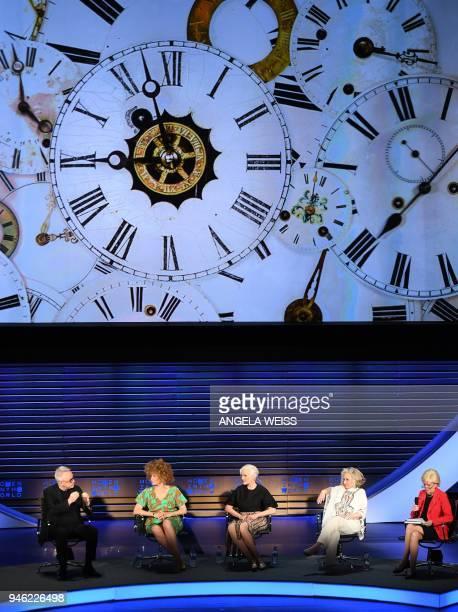 Markus Strobel Michaela Angela Davis Maye Musk Sheila Nevins and Lesley Stahl speak at the Women in the World Summit on April 14 in New York City /...
