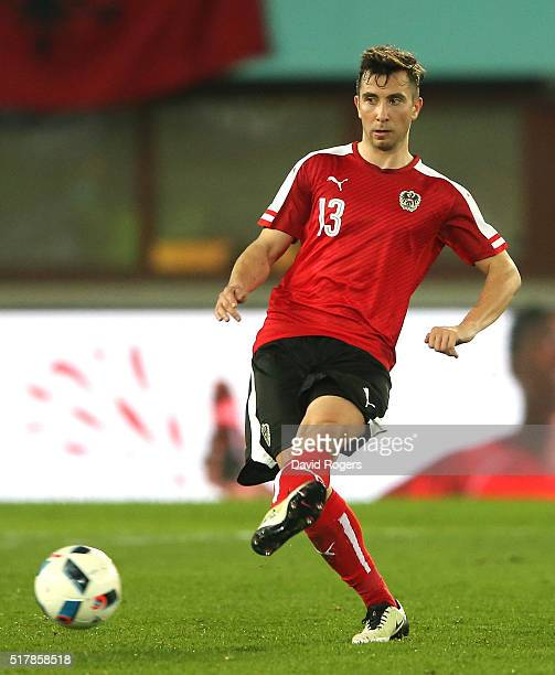 Markus Suttner of Austria passes the bal during the international friendly match between Austria and Albania at the Ernst Happel Stadium on March 26...