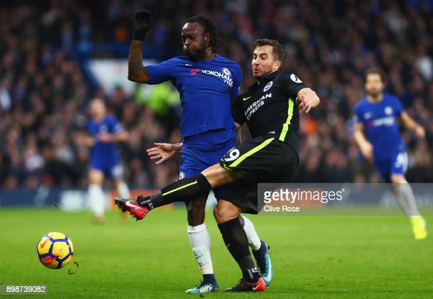Markus Suttner of Brighton and Hove Albion challenges Victor Moses of Chelsea during the Premier League match between Chelsea and Brighton and Hove...