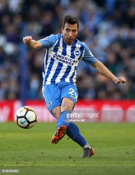 Markus Suttner of Brighton and Hove Albion during the Emirates FA Cup Fifth Round match between Brighton and Hove Albion and Coventry City at Amex...