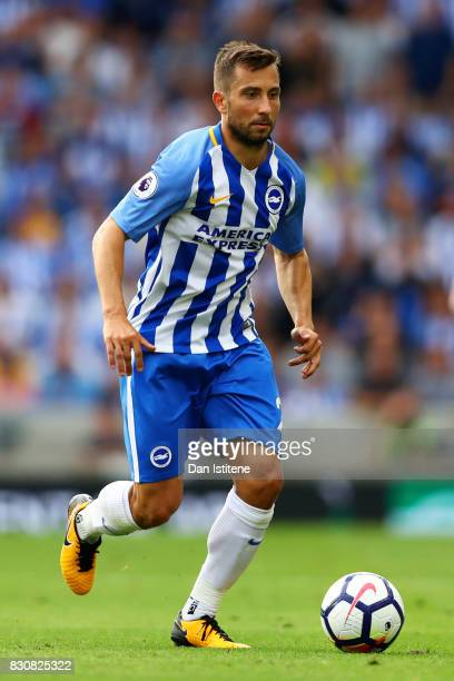 Markus Suttner of Brighton and Hove Albion in action during the Premier League match between Brighton and Hove Albion and Manchester City at Amex...