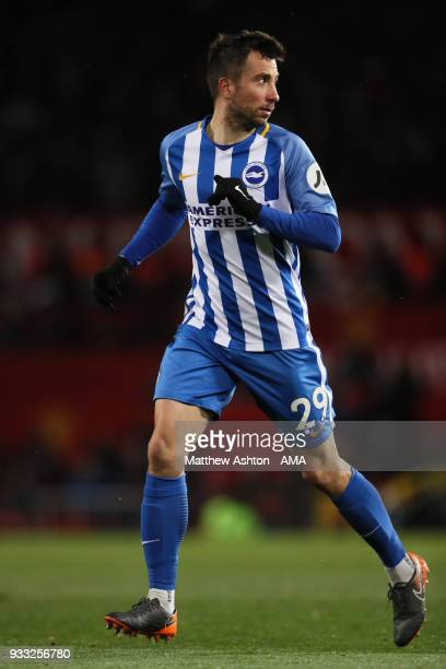 Markus Suttner of Brighton Hove Albion during the FA Cup Quarter Final match between Manchester United and Brighton Hove Albion at Old Trafford on...