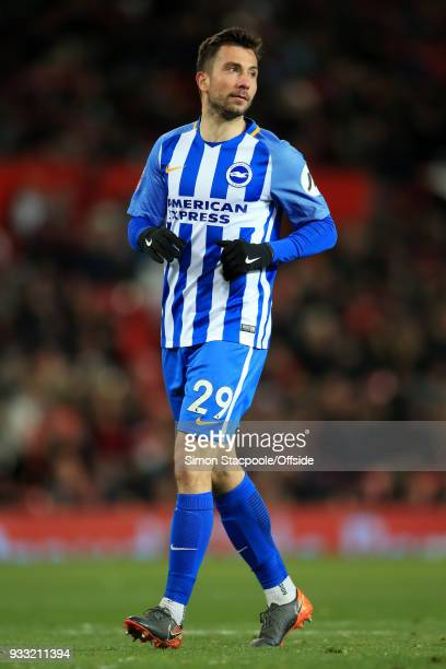 Markus Suttner of Brighton in action during The Emirates FA Cup Quarter Final match between Manchester United and Brighton and Hove Albion at Old...