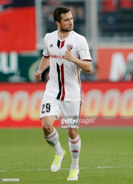 Markus Suttner of Ingolstadt celebrates his team's third goal during the Bundesliga match between FC Ingolstadt 04 and SV Darmstadt 98 at Audi...