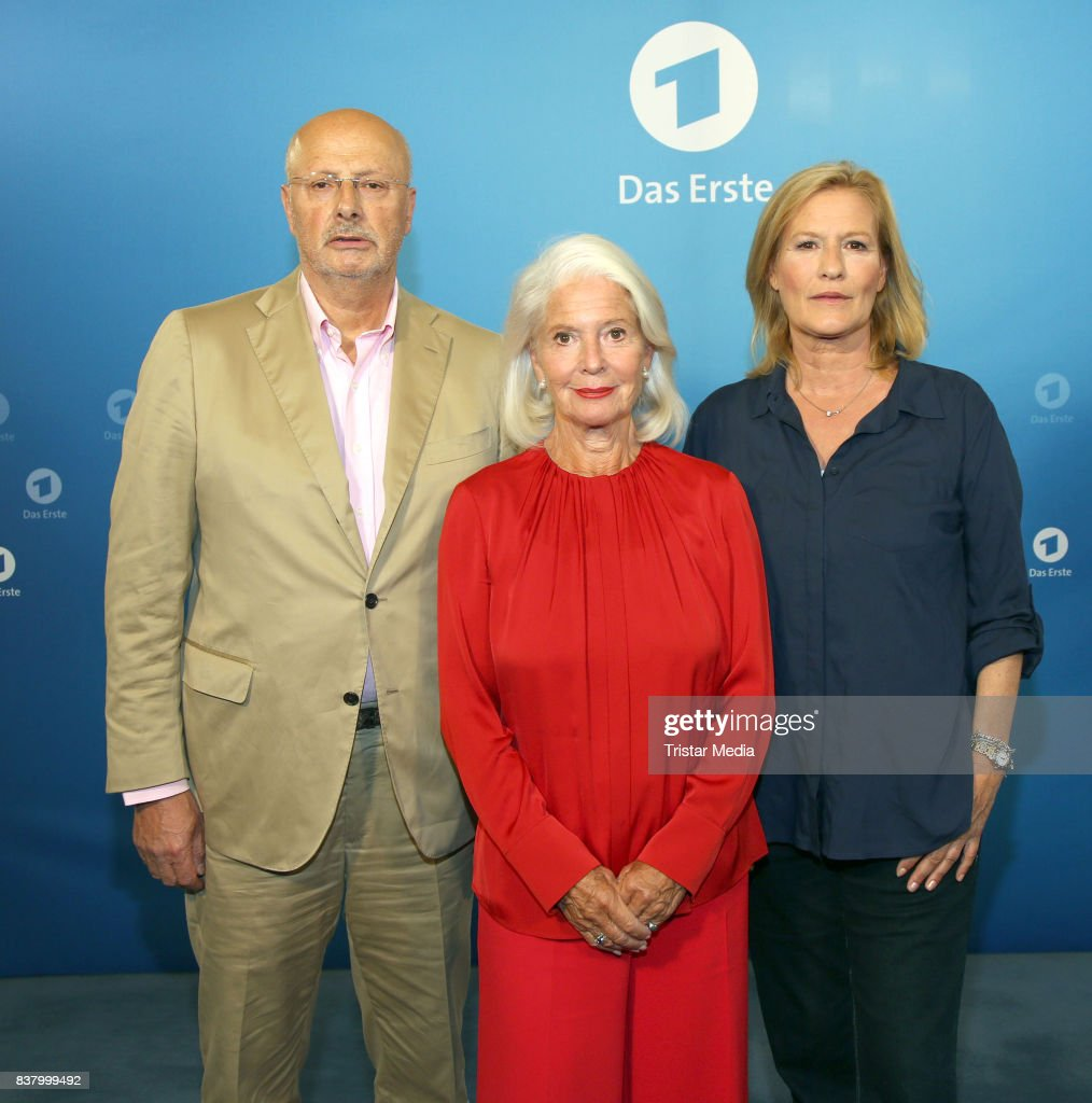 Markus Trebitsch, Christiane Hoerbiger and Suzanne von Borsody during the 'Die letzte Reise' Photo Call at Hotel Atlantic Kempinski on August 23, 2017 in Hamburg, Germany.