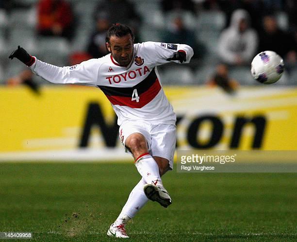 Markus Tulio Tanaka of Nagoya kicks the ball during the AFC Asian Champions League match between Adelaide United and Nagoya Grampus at Hindmarsh...