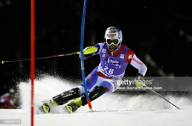 Markus Vogel of Switzerland competes during the Audi FIS Alpine Ski World Cup Men's Slalom on December 18 2012 in Madonna di Campiglio Italy