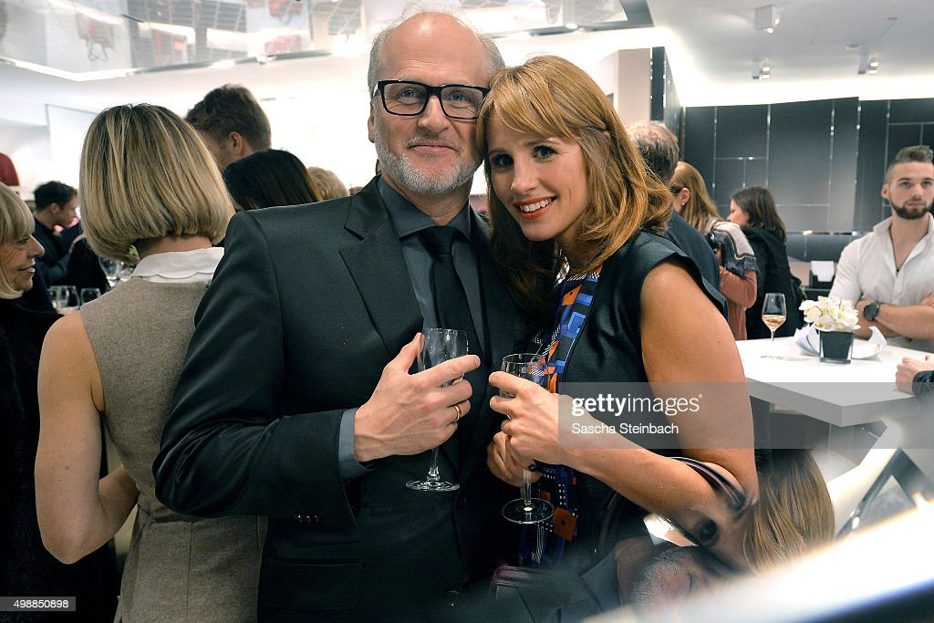 Markus Wahl of Longchamp and Mareile Hoeppner attend the Longchamp store opening on November 26, 2015 in Cologne, Germany.