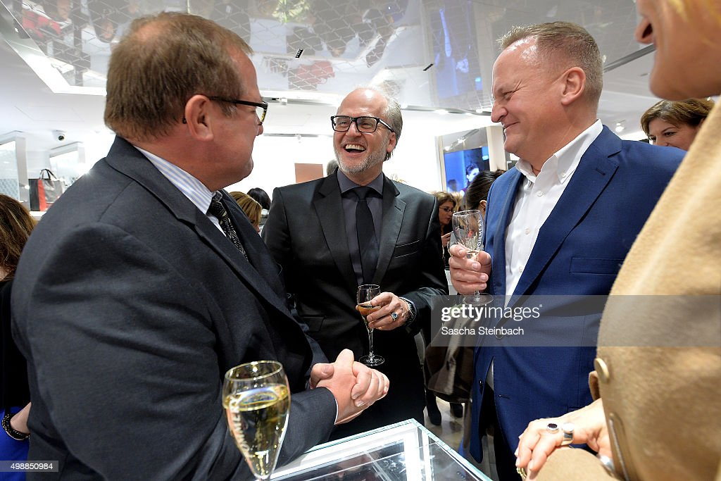 Markus Wahl (C) of Longchamp attend the Longchamp store opening on November 26, 2015 in Cologne, Germany.