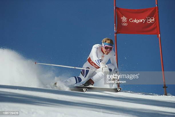 Markus Wasmeier of Germany in action during the Men's Giant Slalom event on 25th February 1988 during the XV Olympic Winter Games in Nakiska Alberta...