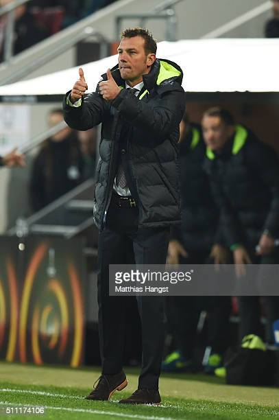 Markus Weinzierl head coach of Augsburg gestures during the UEFA Europa League round of 32 first leg match between FC Augsburg and Liverpool at...