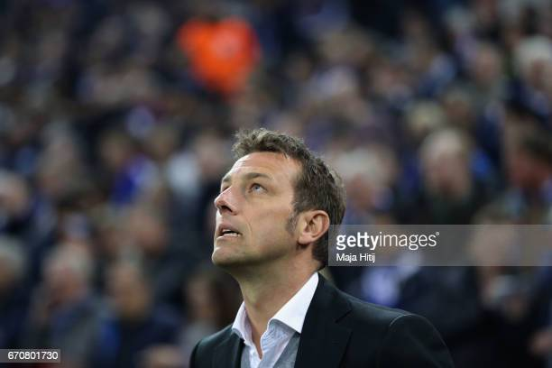 Markus Weinzierl head coach of FC Schalke 04 looks on prior to the UEFA Europa League quarter final second leg match between FC Schalke 04 and Ajax...