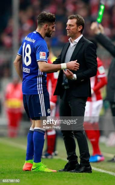 Markus Weinzierl head coach of Schalke gives instructions to Daniel Caligiuri during Bundesliga match between Bayern Muenchen and FC Schalke 04 at...