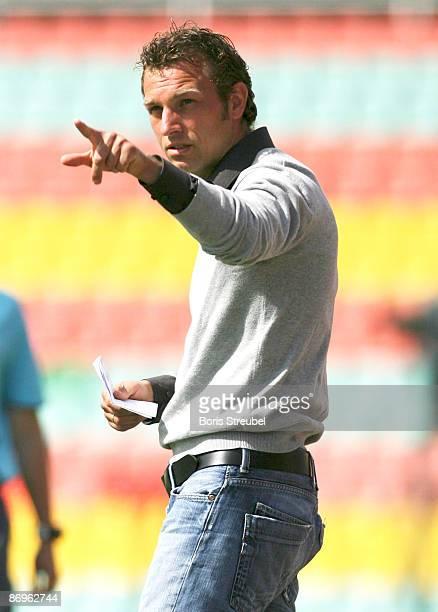 Markus Weinzierl, head coach of SSV Jahn Regensburg gestures during the 3.Bundesliga match between 1.FC Union Berlin and SSV Jahn Regensburg at the...
