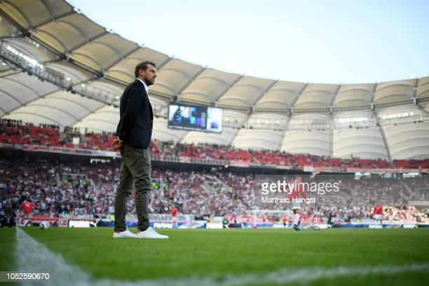 Markus Weinzierl Manager of VfB Stuttgart looks on prior to the Bundesliga match between VfB Stuttgart and Borussia Dortmund at MercedesBenz Arena on...
