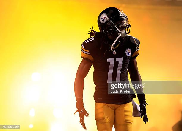 Markus Wheaton of the Pittsburgh Steelers is introduced during the Wild Card game against the Baltimore Ravens on January 3, 2015 at Heinz Field in...